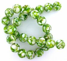 14mm Round Green Mother Of Pearl Mosaic Bead 15 Inch Strand MB29