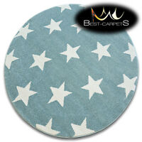 AMAZING THICK MODERN RUGS SKETCH Stars TURQUOISE CREAM FA68 CIRCLE BEST-CARPETS