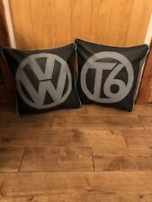 """2 X 17"""" Faux Leather Vw T6 Grey & Black Cushions + Inner Campervan Colour Choice"""