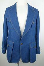Vintage Lee Denim Blazer Sport Coat Jacket Men Size 44R Made in the Usa 1970's