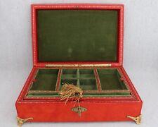 Vintage Italian Lord Taylor Red Leather Green Velvet Jewelry Box Ormolu Feet Key
