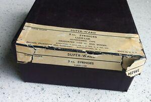 Vintage/Antique 35 Super-Ward/Becton Glass Syringes In Original Box Hypodermic