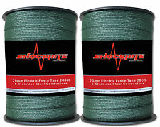 Electric Fence Fencing 2 x 200m x 20mm ShockRite Green Tape (400m)