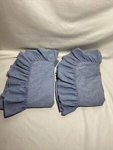 Ralph Lauren Denim Blue Chambray Heavy Ruffled Standard Cotton Pillow Shams