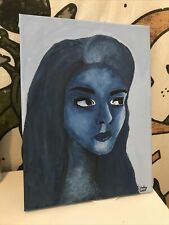 Abstract Portrait Art Painting On Canvas Acrylic Blue Woman 12x9in Original