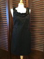Ann Taylor Women's Sheath Dress Size 8 Black LBD Sleeveless Pockets Cotton