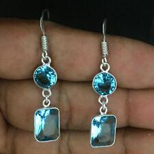 925 Sterling Silver Earrings Blue Topaz Gemstone Jewellery Gift Women ES-1068