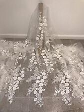 """WHITE MESH W/3D FLOWER EMBROIDERY BEADED LACE FABRIC 50"""" WIDE 1 YARD"""