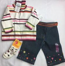 Girl's Set GYMBOREE 3 PIECE Cute as Button Denim Pants Stripe Sweater Socks 3-6