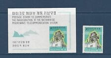 "KOREA  # 594-594A   MH   S/S & STAMP ""PARABOLIC ANTENNA & ELECTRIC WAVES"""