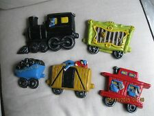 VIntage CHALK WARE / PLASTER Circus Train  Wall Art - 5 Pieces