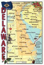 """Greetings from Delaware """" The First State,"""" Dover Lewes Smyrna etc. Map Postcard"""