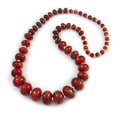 Nero/Rosso/Oro Graduato Perline in Legno Colore Collana Lunga Fusion - 70cm L
