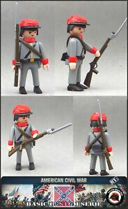 Playmobil Personnalisé Civil War Soldat Sudiste Hiver Armée Confédéré Western