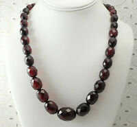 """Art Deco Faceted Graduated Red Cherry Amber Bakelite 21 1/4"""" Necklace 14K Clasp"""