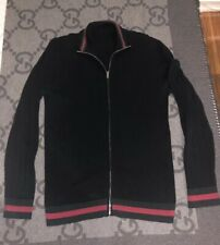 100% AUTHENTIC GUCCI ZIP UP BLACK SWEATER WITH GREEN & RED TRIM SZ XL