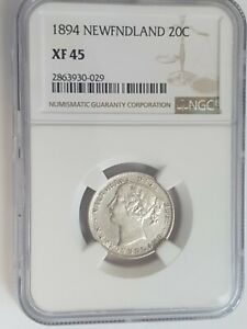 1894 Canada Newfoundland 20 Cents silver coin,  NGC Rated XF 45