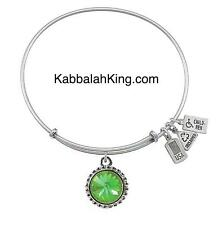 Wind & Fire August Peridot Crystal Birthstone Charm Silver Bangle Bracelet USA