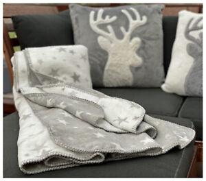 Wende Kuscheldecke Baumwolle Sterne grau weiß 200x150 Decke Sofa Überwurf Typ721