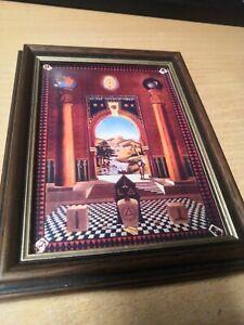Mark Master Mason Tracing Board framed print. In vintage frame  18cm x 14cm