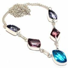 Blue Topaz, Amethyst 925 Sterling Silver Necklace 16-18 (2832) 5343