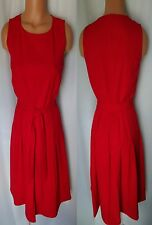 CALVIN KLEIN RED  PLEATED  BELT SLEEVELESS DRESS SIZE 4 NEW WITH TAG