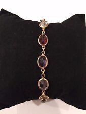 18k multi color gemstone bracelet  8 grams garnet, topaz, peridot, amethyst, cit
