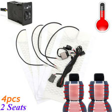 Car Seat Carbon Fiber Heated Cushion Seat Heater Pad Hi-Off-Lo Switch Kit 12V
