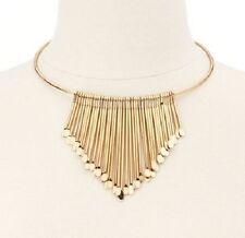 NWT Gold V Shape Fringe Cleopatra Egyptian Collar Costume Statement Bib Necklace