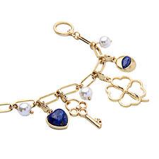 Bracelet Doré Charmes Clé Coeur Trefle Bleu Marine Filigrane Fin Retro CT 4
