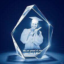 Laser Engraved 3D Crystal Glass Personalized Etched Engrave Gift Large Prestige