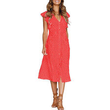 Women V Neck Midi Dress  Polka Dot Buttons Casual Summer Party Swing Sundress