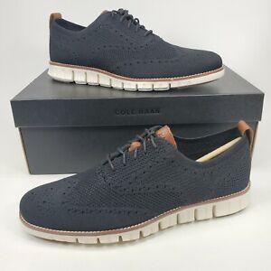 Cole Haan Men's Zerogrand Oxford Shoes C24948 Black Stitchlite Ivory Size 9.5