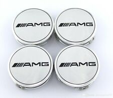 4 PCS 75mm / 3 INCH AMG Silver WHEEL BADGE CENTER CAPS FOR MERCEDES BENZ E CLS D