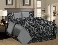 Duvet Quilt Cover 4PCS Piece Bedding Damask Flock Complete Set Satin With Velvet