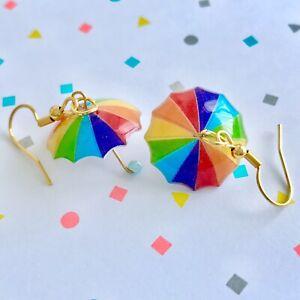 Cute Miniature Umbrellas Fun Dangle Earrings /Quirky/ Novelty Rain Weather