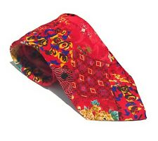 BRIONI Roma VTG Men's Red Silk Patchwork Quilt Tie Made In Italy VGUC