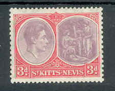 St Kitts & Nevis KGVI 1938-50 3d purple & scarlet ordinary SG73 mounted mint