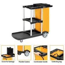 Janitorial Cleaning Cart Rolling Janitor UItility Cart w/ 3 Shelves + Vinyl Bag