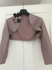 stunning couture pewter coloured satin bolero/cropped jacket size 12/4 nwot