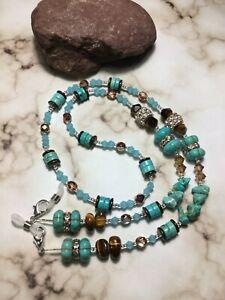 Handmade Turquoise Tigerseye Stone Swarovski Elements Eyeglass/Mask Lanyard USA