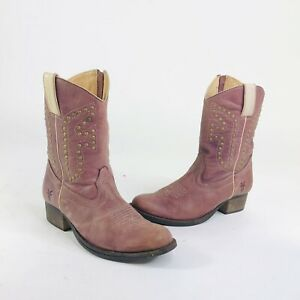 Frye Girls Size 2 Purple Leather Rodeo Western Cowboy Zip Studded Boots
