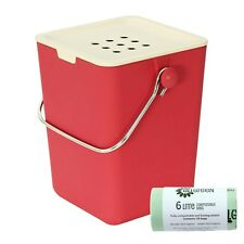 Nubu Red Bamboo Fibre Compost Caddy & 50x All-Green Biobags / Compost Bin