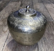 Pottery Barn silver tone tin wrapped Lidded jar with lid trinket