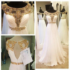 White With Gold Beaded Long Prom Dress Bridesmaid Dresses Chiffon Evening Gown