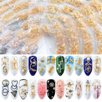 Mixed 3D Hollow Metal Frame Nail Art Decoration Gold Nail Rivet Studs
