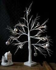 60cm Christmas White Twig Tree Pre Lit 24 LED Warm White Light Snow Effect Xmas