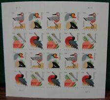 Coastal Birds Postcard Forever rate stamps .35 cent FV ea. Sheet of 20 4991-4994