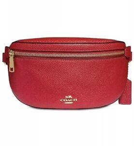 ❤️Coach Pebble Fanny 39939 Jasper Red / Gold Belt Leather Pack