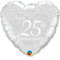 HAPPY 25TH SILVER ANNIVERSARY PARTY HEART FOIL BALLOON DECORATION 25 YEARS 46CM